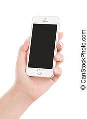 tenant téléphone, mobile, écran, moderne, isolé, main, élevé, arrière-plan., femme, quality., blanc, intelligent, vide
