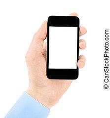 tenant téléphone portable, dans, main, à, écran blanc