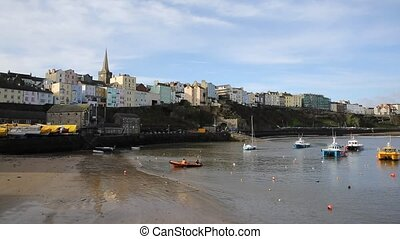 Tenby harbour Pembrokeshire Wales historic Welsh town on...