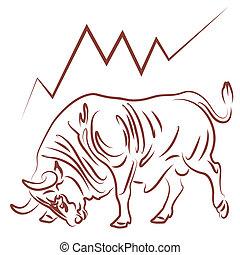 tendência, mercado conservado estoque, bullish, touro