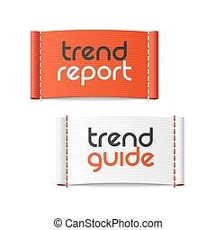 tendência, relatório, etiquetas, guia