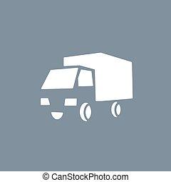 tendência, sinal, entrega, vetorial, transporte caminhão