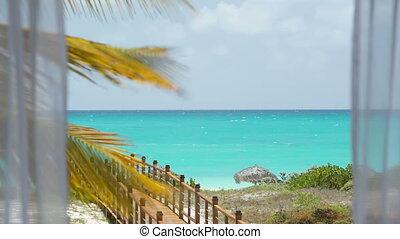 tenda, attraverso, mare, bianco, spiaggia, vista