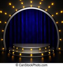 tenda blu, luci palcoscenico