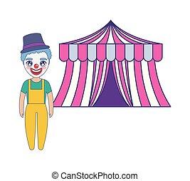 tenda, circo, isolato, pagliaccio, icona