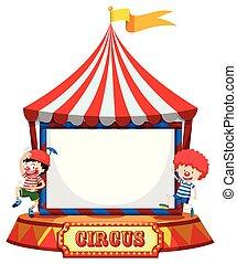 tenda, circo, pagliacci, cornice