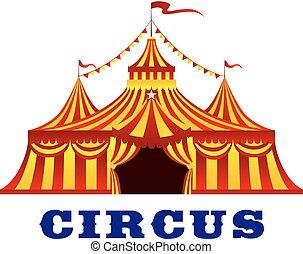 tenda circus, con, rosso giallo, zebrato