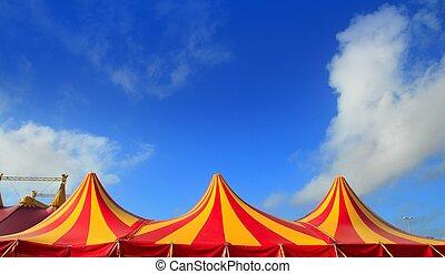 tenda circus, rosso, arancia, e, giallo, spogliato, modello