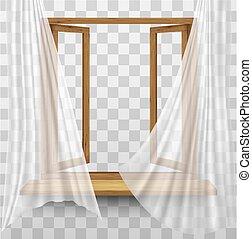 tenda, cornice legno, fondo., finestra, vettore, trasparente