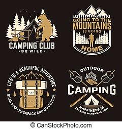 tenda, disegno, logotipo, bastone, foresta, falò, marshmallows, stampa, concetto, lanterna, silhouette., campeggio, camper., cabina, vector., felice, stamp., o, dolce, vendemmia, camicia, montagna