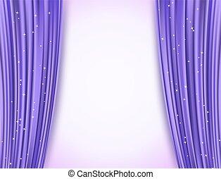 tenda, drappi teatro, opera, astratto, glitter., illustrazione, stars., vettore, fondo, viola, orizzontale, brillio