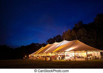tenda, evento, notte
