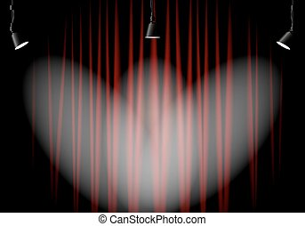 tenda, illuminazione, rosso, palcoscenico
