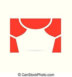 tenda, illustrazione, vettore, icon-, rosso, palcoscenico