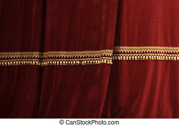 tenda, luce teatro, uggia, rosso, palcoscenico