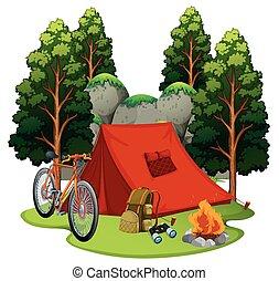 tenda, luogo, falò, campeggio