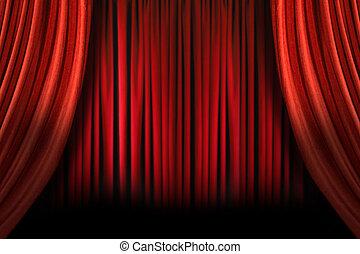tenda, malloppo, velluto, elegante, foggiato, vecchio, palcoscenico