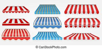 tenda, memoriz., canopy., finestra, collezione, drogheria, vettore, spogliato, tetto, esterno, immagini, caffè, shopping