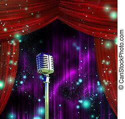 tenda, microfono, colorito, classico
