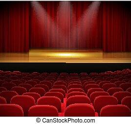 tenda, palcoscenico, teatro, rosso, posti