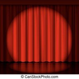 tenda, riflettore, palcoscenico