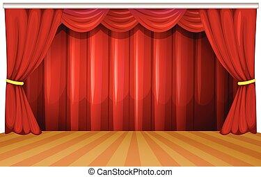 tenda, rosso, palcoscenico