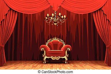 tenda, sedia, vettore, rosso, palcoscenico