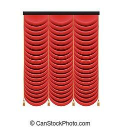 tenda, set, teatro, illustration., stage., maglia, vettore, rosso