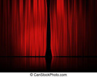tenda, sfondo rosso, palcoscenico