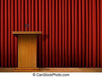 tenda, sopra, podio, rosso, palcoscenico