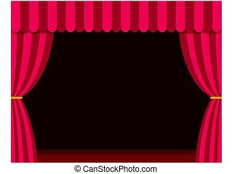 tenda, teatro, illustration., marrone, pavimento, legno, appartamento, vettore, style., palcoscenico