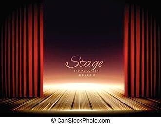 tenda, teatro, pavimento, legno, rosso, palcoscenico