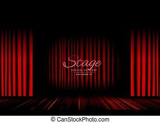 tenda, teatro, pavimento, opera, legno, fondo, palcoscenico, aperto, o, rosso