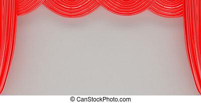 tenda, teatro, rosso, plastica