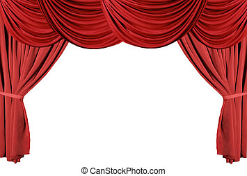 tenda, teatro, serie, drappeggiato, 3, rosso