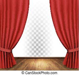 tenda, teatro, trasparente, vector., fondo.
