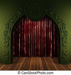 tenda, velluto, bronzo, rosso, palcoscenico
