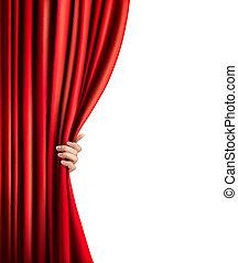 tenda, velluto, fondo, vettore, mano., rosso, illustration.