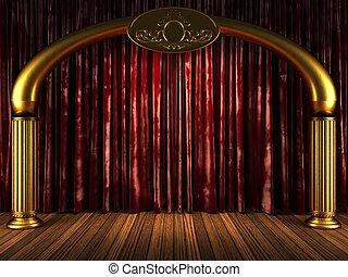 tenda, velluto, rosso, oro, palcoscenico