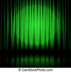 tenda, verde, riflettore, palcoscenico