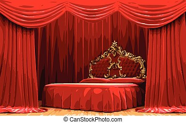 tenda, vettore, rosso, letto, palcoscenico