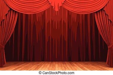 tenda, vettore, velluto, rosso, palcoscenico