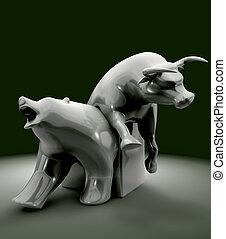 tendance, économique, statue, ours, taureau