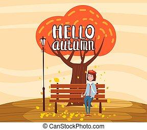 tendance, automne, girl, paysage, ville, style, panorama, isolé, banc, horizon., plat, café, solitaire, affiche, illustration, boire, bannière, dessin animé, carte postale, arbre, vecteur, bonjour