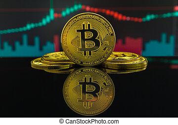 tendance baisse, montré, graphique, candles., bitcoin, ...