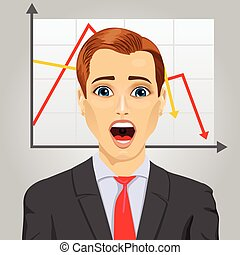tendance, graphique, projection, négatif, économique, pleurer, émotif, homme affaires, ligne, crise