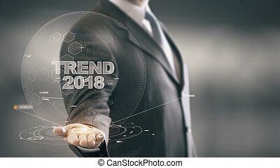 tendance, homme affaires, concept, 2018, hologramme
