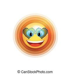 tendance, soleil, character., ensoleillé, illustration, figure, vecteur, sourire, sunglasses., dessin animé, 3d