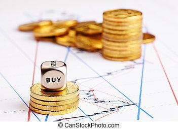 tendance, trading., mot, pièces, diagramme, dés, sélectif, ...