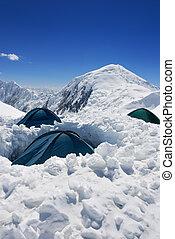 tende, di, assalto, campeggiare